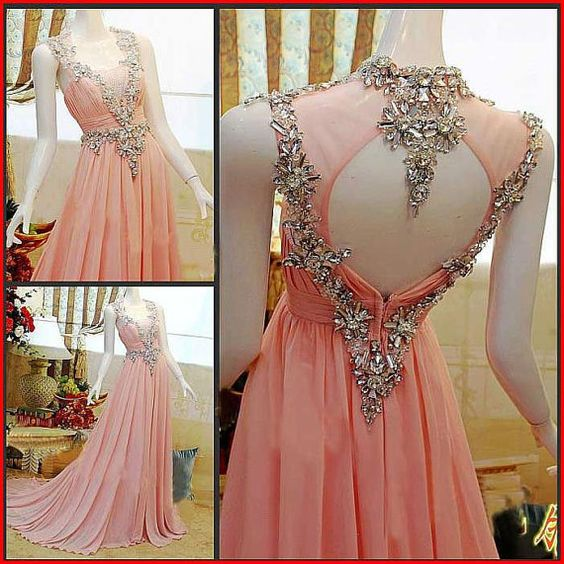 Pink Prom Dress Floor Lengths Evening Dress Beading backless Dresses