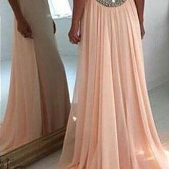 Fabulous Jewel Sleeveless Sweep Train Prom Dress with Beading Party Dresses