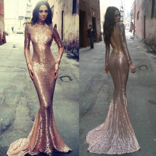 Sexy Long Sleeves Sequins Prom Dresses,Mermaid Evening Dresses,Sweep Train Women Dresses
