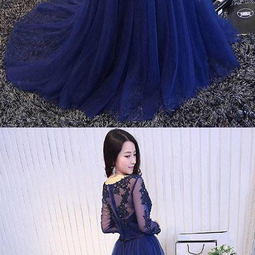 Long Sleeve Prom Dresses Blue,A-line Party Dresses V-neck, 2018 Formal Dresses Lace Tulle Court Train Appliques
