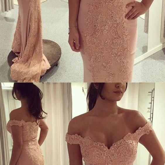 Mermaid Off-the-Shoulder Sweep Train Pink Prom Dress with Appliques,P487