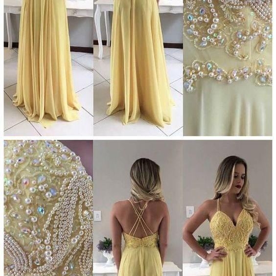 Sexy Sleeveless Prom Dress, Chiffon Prom Dresses , Long Evening Dress,P488