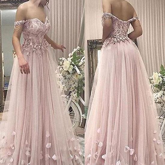 Stylish A-Line Off-Shoulder Pink Tulle Long Prom/Evening Dress with Appliques,P490