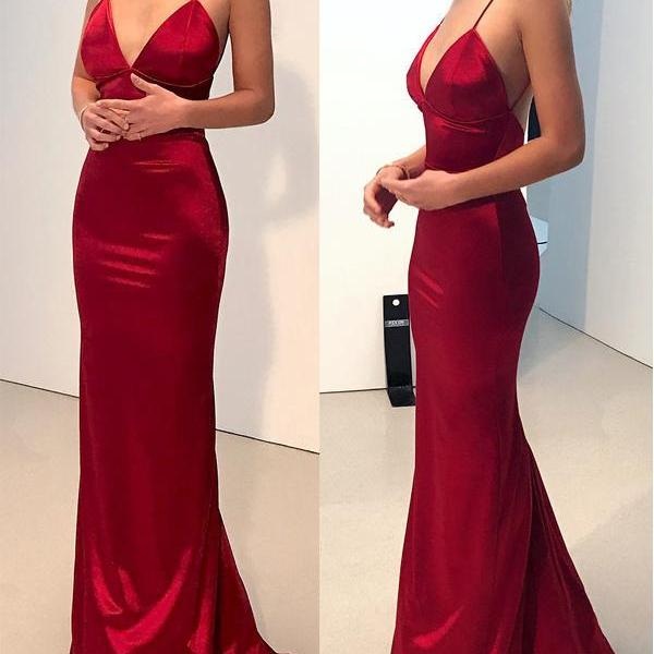 Simple Backless Dark Red Mermaid Long Evening Prom Dresses,P992