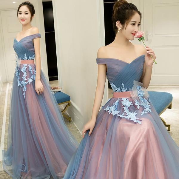 Charming Prom Dress,Elegant Prom Dress,Tulle Eveing Dress,Long Homecoming Dress,P994