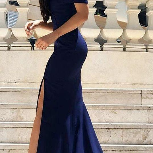 Off Shoulder Mermaid Prom Dress, Sexy Prom Dresses with Slit, Long Evening Party Dress,P995