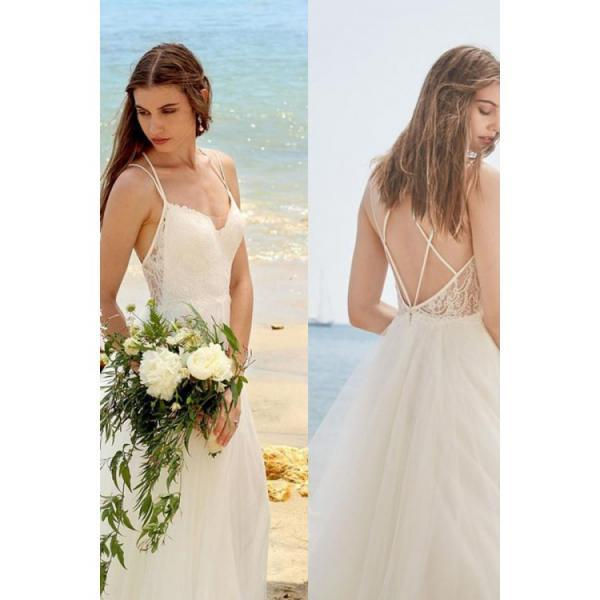Simple Spaghetti Straps Ivory A Line Tulle Beach Wedding Dress,W1433