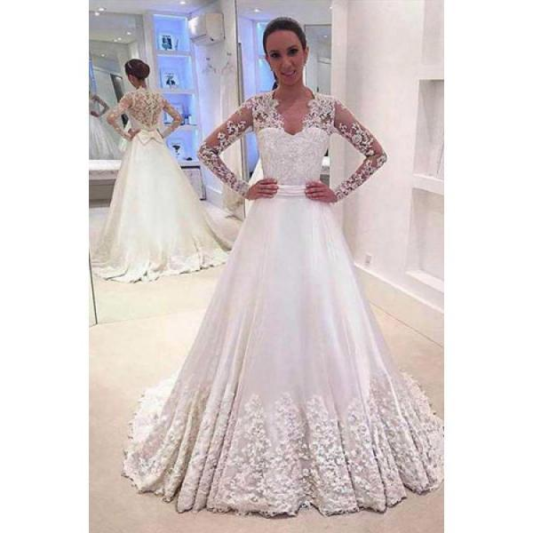 White A Line V Neck Long Sleeves Appliques Wedding Dresses With Sweep Train,W1436