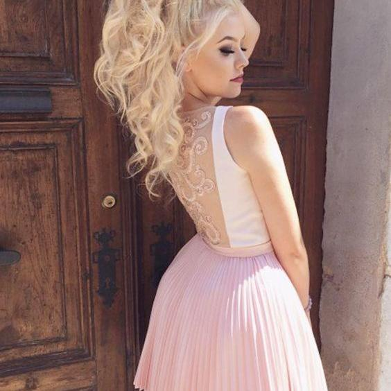 Chic A-line Pink White Homecoming Dress Cheap Cute Short Prom Dress,H1937