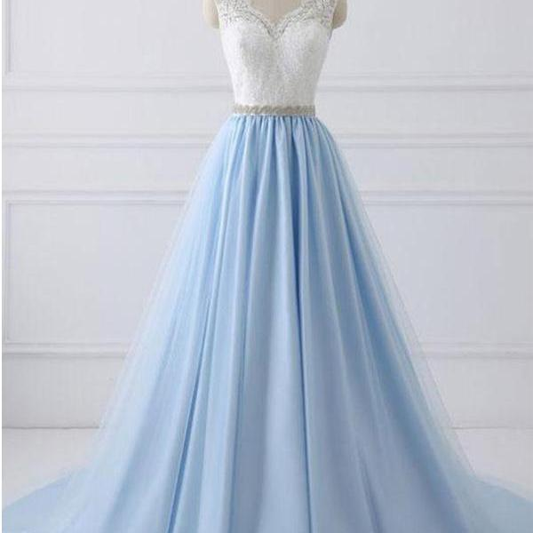LACE PROM DRESSES A-LINE WHITE AND BLUE CHEAP LONG PROM DRESS/EVENING DRESS ,P1938