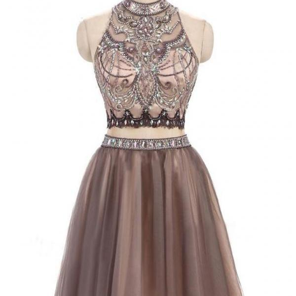 CHIC TWO PIECES HOMECOMING DRESS HIGH NECK BEADING SHORT PROM DRESS HOMECOMING DRESS,H1940