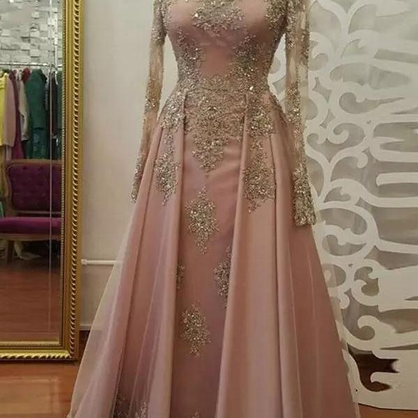 2018 A-line Prom Dresses Scoop Long Sleeve Pink Applique Long Prom Dress Evening Dresses,P1943