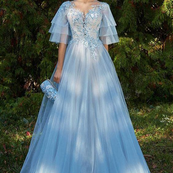 Excellent Tulle Jewel Neckline Bell Sleeves A-line Prom Dress With Beaded Lace Appliques,Custom Made,Party Gown,Cheap Evening dress,P2106