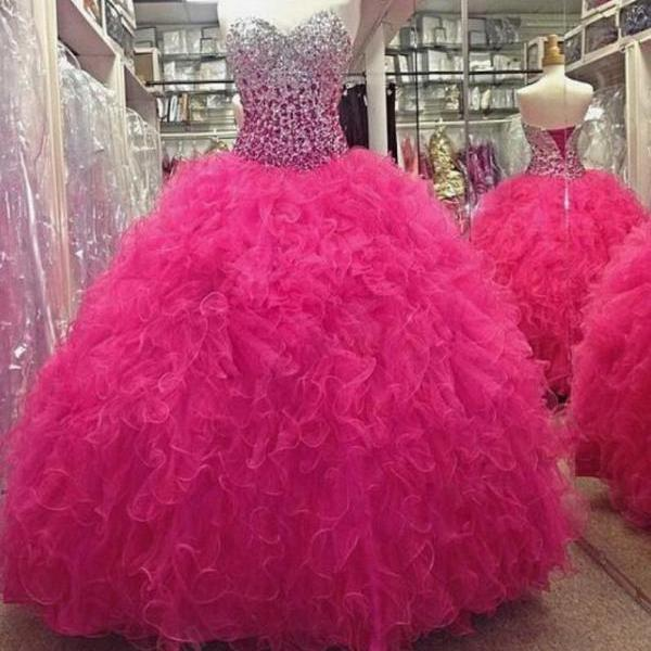 Fuchsia Pink Ball Gown Quinceanera Dress Sweetheart Beading Prom Dresses,P2152