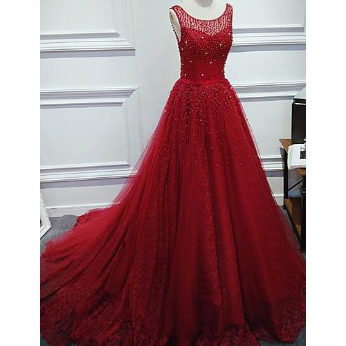 Red Scoop Neck Ball Gown Beaded Prom Dress Formal Gowns New,P2153