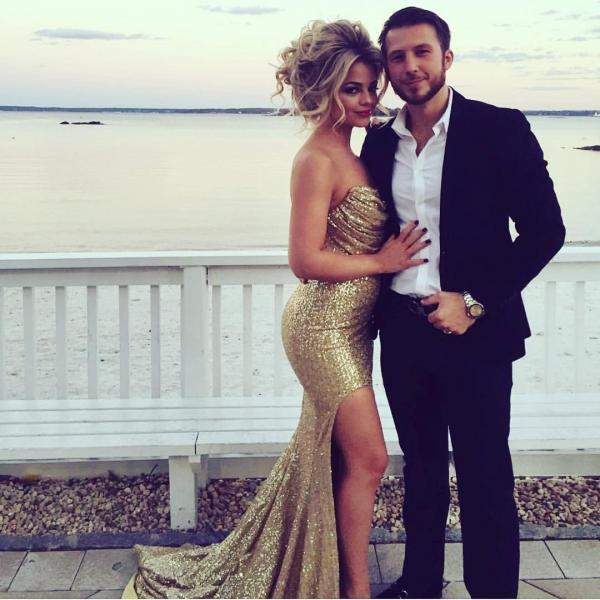 Ruched Strapless Gold Sequins Mermaid Evening Dresses Split Prom Gowns,P2155