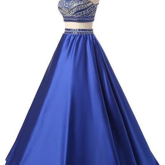 Elegant High Neck Beading Crystal Prom Dresses Long Satin A Line Two Pieces Evening Gowns,P2156