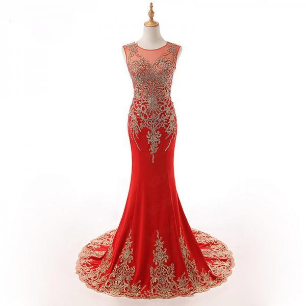 O Neck Cap Sleeves Mermaid Prom Evening Dresses Women Formal Gowns With Applliqued Lace,P2157