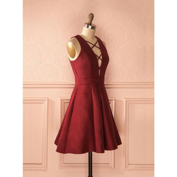 A-Line V-Neck Sleeveless Lace-Up Short Burgundy Satin Homecoming Dress,H2218
