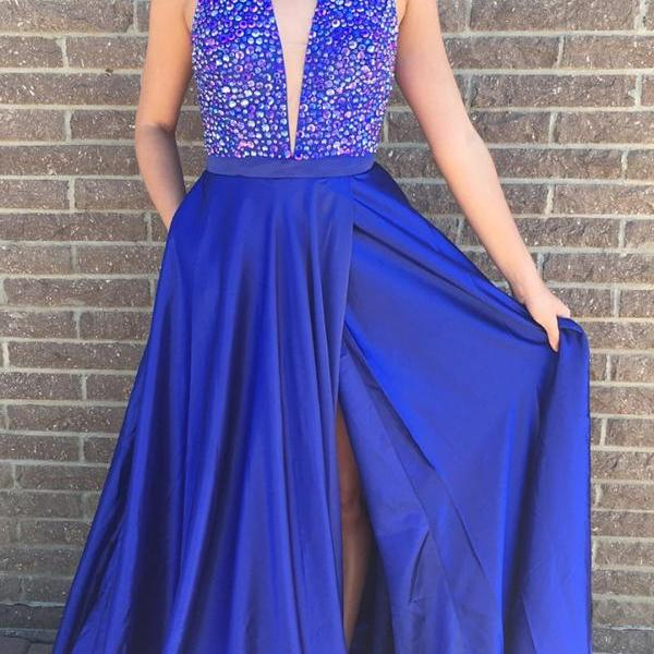 Gorgeous Halter Royal Blue Long Prom Dress with Slit,Deep V-neck Prom Dresses,P2222