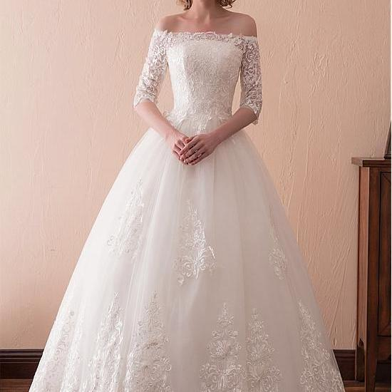 Wonderful Tulle Off-the-shoulder Neckline 3/4 Length Sleeves A-line Wedding Dress With Lace Appliques,W2759