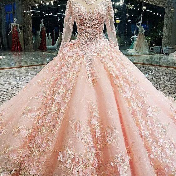 Long Sleeve Appliques Tulle Quinceanera Dresses with Flower, Elegant Beaded Ball Gown Prom Dresses, Formal Evening Dress,P2857