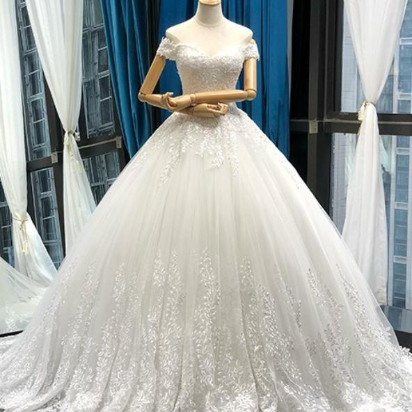 White Ball Gown Tulle Appliques Off The Shoulder Wedding Dress With Train,W2870
