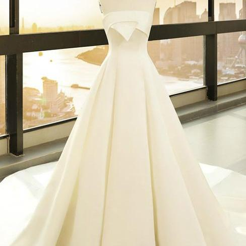 Simple White Satin Strapless Lotus Leaf Wedding Dress,W2871