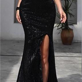 Strapless Long Mermaid Sexy Black Sequin Side Slit Prom Dresses,P2981