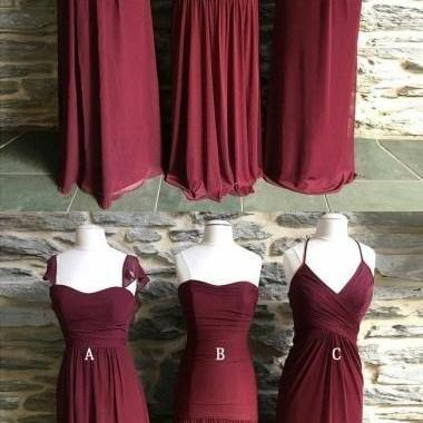 Mismatched Long Chiffon Cheap Formal Winter Floor-length Bridesmaid Dresses ,B3097