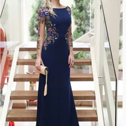 Mermaid Long Sleeves Navy Blue Scoop Prom Dresses Long Formal Dresses,P3872