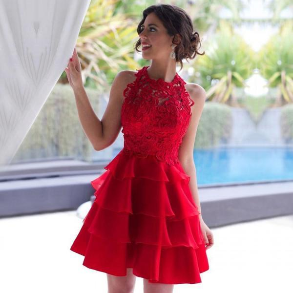 New Style Red Prom Dresses, A-line Lace Short Homecoming Dresses, Scoop Neck ChiffonTiered Party Graduation Dress,H3874