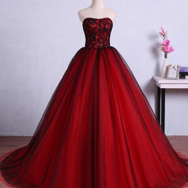 Charming Red Ball Gown Prom Dresses Tulle Sweetheart Evening Gowns With Lace Bodice, P3309