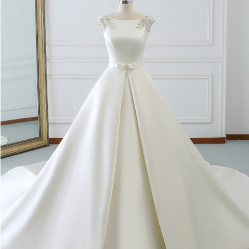White Satin Cap Sleeve Backless Wedding Dress With Pearls,W3315