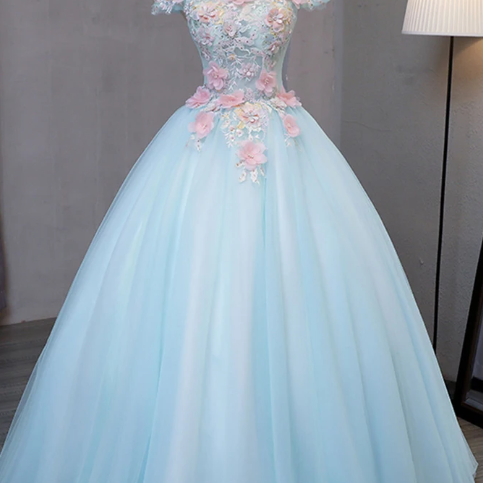 Sky blue tulle princess off shoulder long formal prom dress, long strapless pink flower appliqués evening dress,P3316