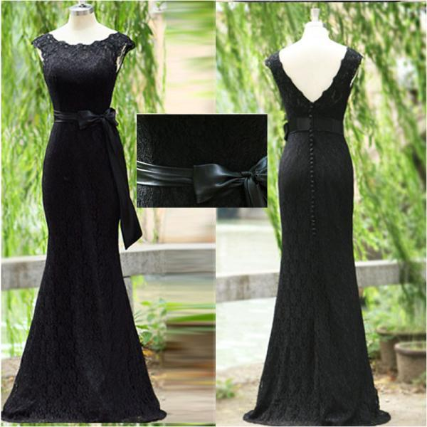 Black Lace Prom Dress Exquisite Mermaid Trumpet Scoop Neck Ribbon Backless Long Evening Prom Gowns,P3338