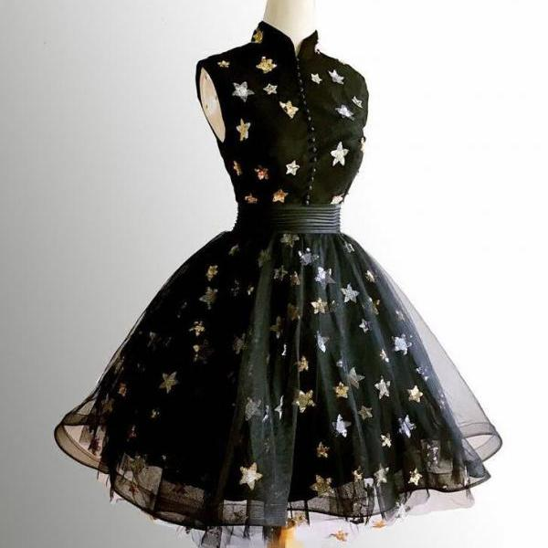 A-Line Cute Black Prom Dress, Short Prom Dress, Homecoming Dresses Graduation Dresses,H3340