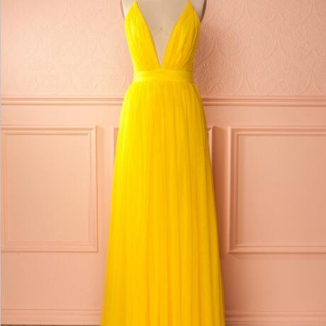 Yellow A Line Tulle Prom Dress,Long Evening Dress,Spaghetti Strap Formal Dresses,P3341