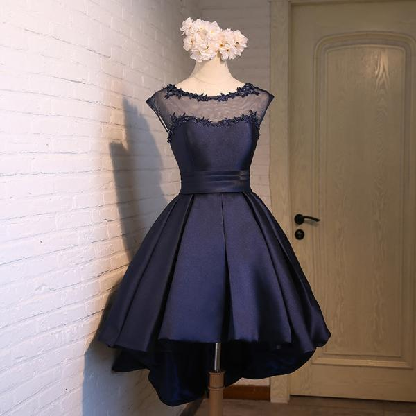 Navy Blue Illusion Cap Sleeve Homecoming Dress,Cocktail Dress High Low Skirt,H3342