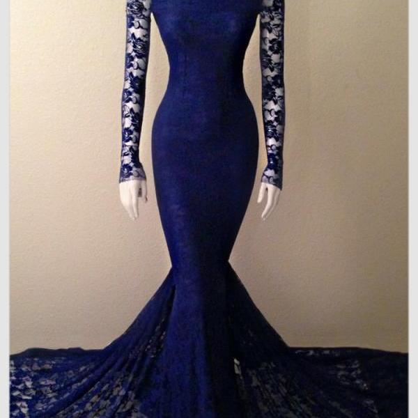 Navy Blue Lace High Neck Mermaid Evening Gown With Long Sleeves,P3343