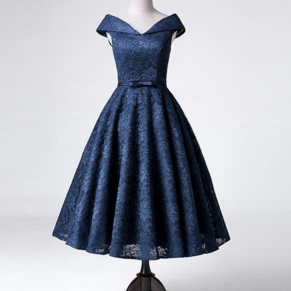 New Arrival Navy Blue Off The Shoulder Lace Cocktail Dress,Homecoming Dress,H3345