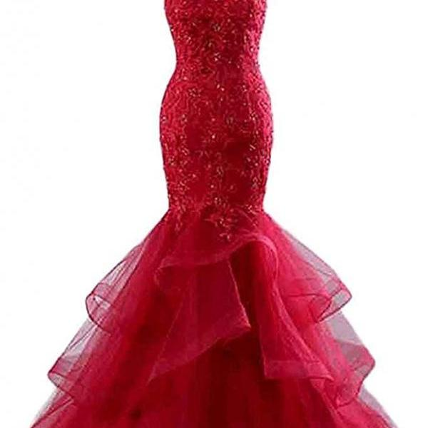 Women's Beaded Lace Embroide Prom Dress Long Mermaid Formal Prom Party Ball Gown,P3347