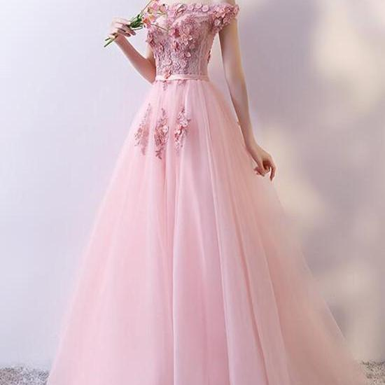 Beautiful Pink Tulle with Flowers Applique Long Formal Gown, Pink Prom Dresses,P3367
