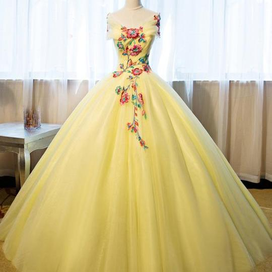 Beautiful Yellow Tulle Long Prom Dress, Sweet 16 Gowns, Yellow Formal Dresses 2019,P3368