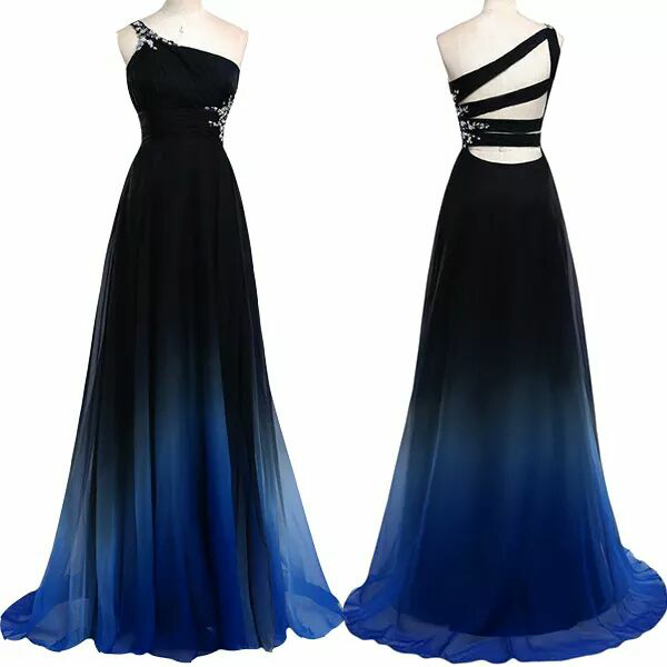 One shoulder sleeveless prom dress for women, gradual change noble rhinestone long evening gowns,formal dresses,P3369