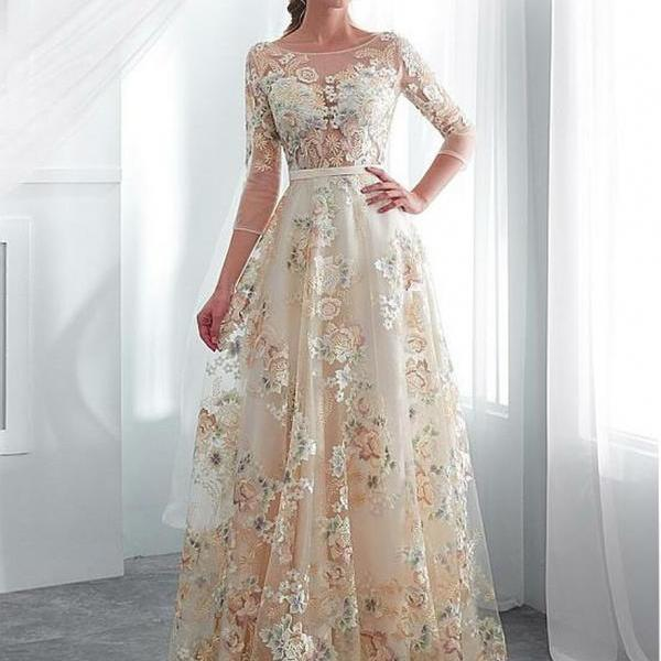 Lace Bateau 3/4 Sleeves Color Floral A-line Wedding Dress With Belt,P3373