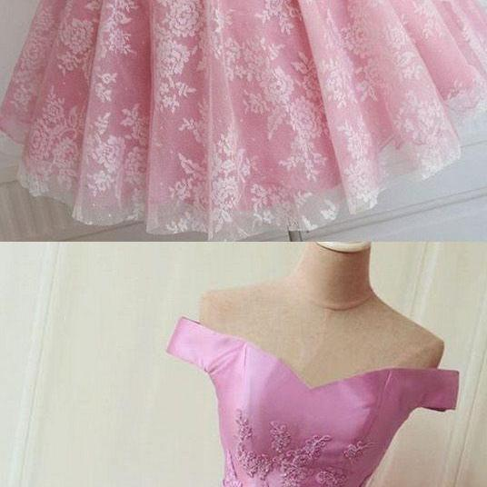Short, A-line/Princess, Prom Dresses, Pink Sleeveless ,With Bow knot, Mini Homecoming Dresses , Sexy ,Off-the-shoulder ,Mini Dresses,H3385