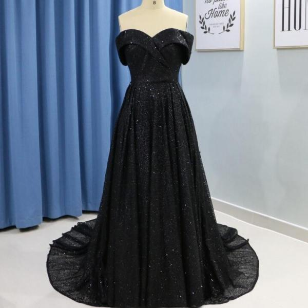 Off Shoulder Black Sequin Prom Dress Sweet 16 Prom Party Gowns Plus Size Formal Evening Dress,P3390
