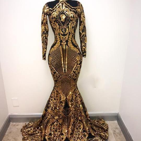 black and gold evening dress, high neck evening dress, luxury evening dress, sparkly evening dress, evening gown, robe de soiree, vestido de festa de longo, elegant evening dress, beaded evening dress, formal dresses,P3395