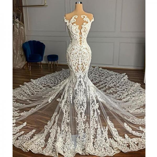 Vintage Full Lace Illusion Bridal Wedding Dresses 2021 Sheer Neck Sleeveless Court Train Zipper Back Custom Made Wedding Gowns,W3399